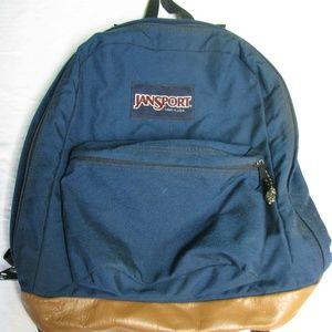 Vintage Jansport Leather-Bottom Backpack